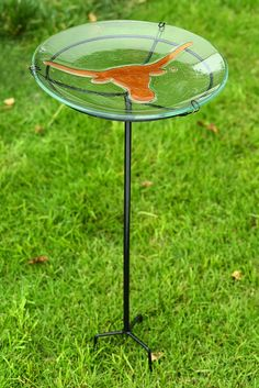 University of Texas Longhorns Logo Garden Stake Bird Bath