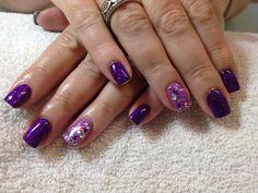 Gel nails, glitter nails, purple glitter, crystals diamante nail art by Shimmer Body Studio.