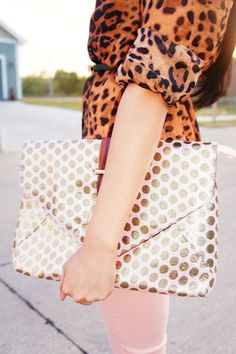 polka dot envelope clutch.