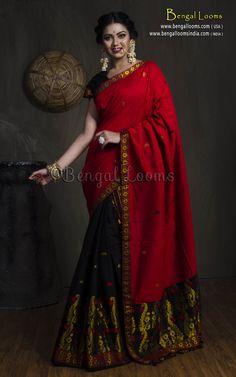 Assamese Cotton Mekhela Chador in Red and Black Red Saree, Saree Dress, Mekhela Chador, Silk Saree Banarasi, Saree Jewellery, Wedding Saree Collection, Stylish Blouse Design, Saree Models, Elegant Saree