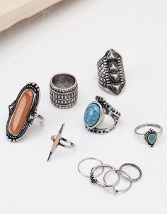 Boho rings set (10) - Ready for the trip - Bershka Ukraine