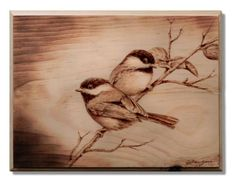 Pyrography, Wood Burning, Chickadees on Bass Wood, Original Wood Burning Stencils, Wood Burning Tool, Wood Burning Crafts, Wood Crafts, Pyrography Patterns, Wood Carving Patterns, Coffee Painting, Painting On Wood, Wood Burning Techniques