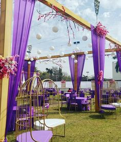 Violet drapes with simple floral decor for mehandi function. Telugu Brides, Telugu Wedding, Wedding Mandap, Event Organiser, Indian Wedding Decorations, Wedding Sutra, South Indian Bride, Wedding Places, Wedding Trends