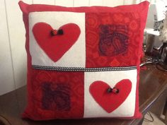 """Hearts embroidered 16"""" pillow"""