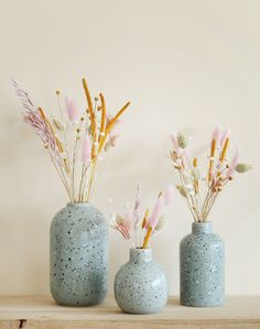 Soliflores Trio of Terrazzo and its Dried Flowers Dried Flower Arrangements, Flower Vases, Dried Flower Bouquet, Dried Flowers, Deco Time, Deco Floral, Terrazzo, Fall Flowers, Vases Decor