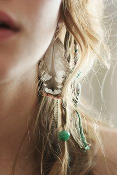 hair, braid, feathers, beads, blonde, boho