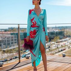 innarnar - Fashion V-Neck Waist Long Sleeve Print Dress – innarnar - Dress Outfits, Casual Dresses, Fashion Dresses, Women's Dresses, Sleeve Dresses, Dance Dresses, Short Dresses, Girl Outfits, Love Fashion