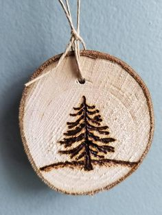 Items similar to Hand cut, wood burned ornament on Etsy Wood Burning Crafts, Wood Burning Patterns, Wood Burning Art, Wood Crafts, Diy Wood, Wooden Christmas Decorations, Wood Ornaments, Xmas Ornaments, Natural Christmas