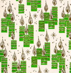 Green & Gold Candles Wrapping Paper