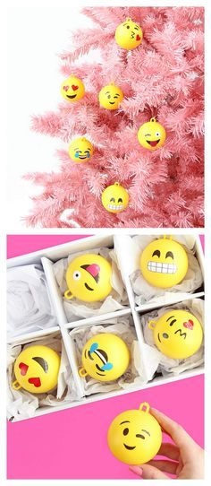 christmas ornaments DIY Emoji Ornament Tutorial from A Subtle Revelry. Make these fun DIY Emoji Ornaments with clear ornaments, vinyl, and spray paint. Please choose cruelty free vegan art and craft supplies Christmas Tree Ornaments To Make, Christmas Balls, Christmas Holidays, Christmas Decorations, Clear Ornaments, Ornaments Ideas, Emoji Christmas Tree, Xmas Trees, Simple Christmas