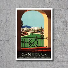 ca.1930 Canberra, Parliament House, Australia // Artist: Percy Trompf // High Quality Fine Art Reproduction Giclée Print // Vintage Travel by WiredWizardWeb on Etsy