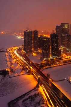 Lake Shore Drive over the Chicago River, gorgeous winter evening view (Chicago Pin of the Day, 2/19/2015).