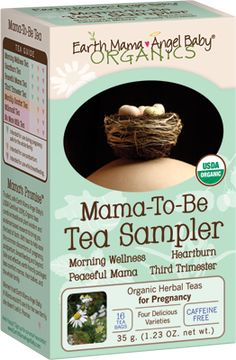 Earth Mama Angel Baby | Mama-To-Be Tea Sampler | Morning Wellness; Heartburn; Peaceful Mama; And Third Trimester tea | All Organic.