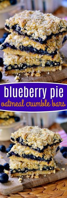 Why make pie when you can enjoy these Blueberry Pie Oatmeal Crumble Bars with just four ingredients?? Infinitely easier than pie, serves a crowd, and so fantastically yummy - you just can't go wrong with these bars! // Mom On Timeout #dessert #recipe #recipes #bars #oatmeal #blueberry #sweets #baking #easy #pie #crumble #momontimeout