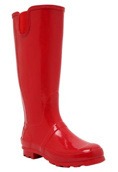 Splash it up in these red wide width patent rain boots from Torrid