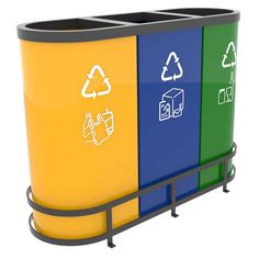 MALMO Recycling Bins for Office. Great attractive design for any modern workplace. Modular recycling bin 3 x 55L to be used with standard 60L waste bags. Dimensions: 92 x 32 x 70 cm. Do you like the stickers? Get your free set of printable recycling labels from here: #trashcan #coolstuff http://www.urbaniere.com/free-recycling-labels/