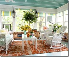 Love the color choice. Like the window treatments and colored ceiling.