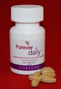 Forever Daily is a food supplement designed to deliver 100% of the recommended daily allowance (RDA) of essential vitamins and bio-available minerals and nutrients. Forever Daily combines 55 perfectly balanced aloe coated nutrients to support optimal health and vitality every day. Forever Daily works to support daily energy needs, the immune system, proper metabolism, cardiovascular health, bone health, and effective mental activity.