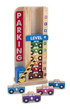 {Wooden Stack & Count Parking Garage} With its imaginative design details and wonderfully simple mechanics, this clever toy is a captivating, educational way to play with sorting, matching, counting, and more.
