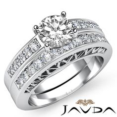 Round Diamond Engagement EGL E VS1 14k White Gold Bridal Set Pave Ring 1 61 Ct | eBay