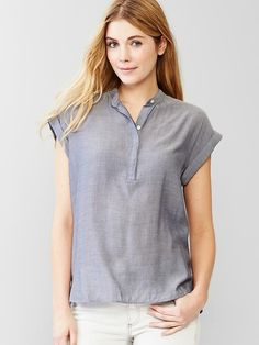 Indigo relaxed henley I love the relaxed look of this shirt.