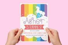 Rainbow Unicorn Kids Party Invite First birthday Baby Girl Invite Toddler Colourful 1st 2nd 3rd 4th 5th Printable Invite