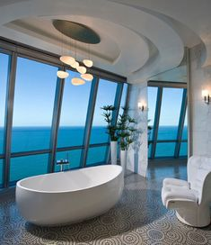 Pfuner Design has designed Jade Ocean Penthouse 2 located in Florida, USA. from Pfuner Design: The square foot 2 story penthouse is in a modern high-rise, oceanfront building in Sunny Isles Beach, Florida. We wanted the space to… Dream Bathrooms, Beautiful Bathrooms, Luxury Bathrooms, Modern Bathrooms, Master Bathrooms, Luxury Bathtub, Bathroom Mirrors, Remodel Bathroom, Bathroom Cabinets