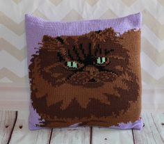 Knitting Pattern PDF Download - Tortoiseshell Persian Cat Cushion Cover by Rubyandthefoxes on Etsy