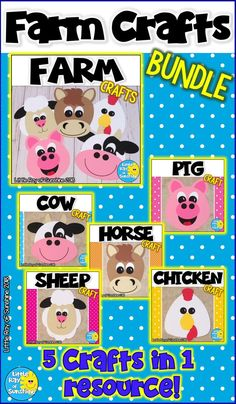 #farm #farmcrafts #tpt  #kindergartenThis FARM Craft Bundle is perfect for units on the Farm, when reading stories about farm animals or any time of year you are teaching about any of these animals. Simply copy the templates onto colored paper or use them as tracers. You could also copy them onto white paper and have the children color the pieces before cutting them out and assembling them. The colors I used are just suggestions, you may customize this project with your own colors.