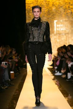 A look from the Herve Leger By Max Azria Fall 2015 RTW collection.
