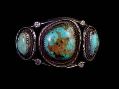 42g Old Pawn Vintage Navajo Sterling Silver Cuff Bracelet w Beautiful Royston Turquoise Stones! Rustic Tribal Classic!