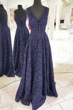 Dark blue v neck lace long prom dress, lace evening dress