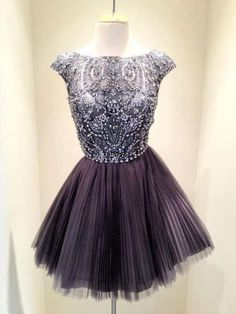 Rhinestone Homecoming Dresses, Tulle Homecoming Dresses,Beading Cap