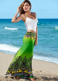 Seamless tank, print maxi skirt   This one too, love that green.