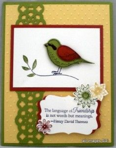Stamping on the Back Porch: Stampin' Up! Birds: Aviary, Language of Friendship, & Best of Everything!