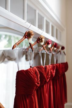 Deep red dresses for the bridesmaids   Fall Wedding in Illinois from Autumn and Melinda Photography  Read more - http://www.stylemepretty.com/illinois-weddings/2013/10/31/fall-wedding-in-illinois-from-autumn-and-melinda-photography/