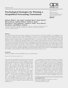 Psychological Strategies for Winning a Geopolitical Forecasting Tournament