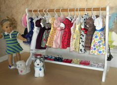 American Girls freestanding clothes rack adaptable for 1:12 dollhouse laundry/sewing room (image only) | Source: Beds & Threads @ etsy