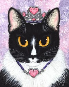 Items similar to Cat Portrait Valentine Cat Princess Tuxedo Cat Painting Cat Tiara Heart Royal Cat Princess Cat Fantasy Art Print Cat Lovers Art on Etsy Cat Lover Gifts, Cat Gifts, Lovers Art, Cat Lovers, Princess Fiona, Cat Art Print, Big Eyes, Fine Art America, Fantasy Art