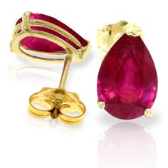 "3.50 CT 14K Solid Gold I Kept Thinking Ruby Earrings (""1967"") Jewelcology"