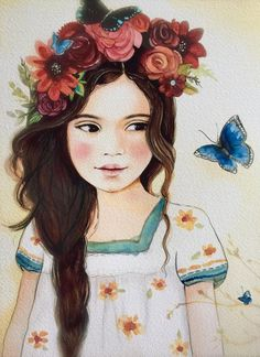 art print ,drawing, love, portrait artwork ,claudia tremblay Roses and black butterfly in her hair. Art And Illustration, Portrait Male, Claudia Tremblay, Face Art, Flowers In Hair, Her Hair, Art Girl, Artsy, Butterfly