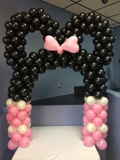 DIY balloon kit. Mickey or Minnie Mouse arch clips onto the side of a 6 foot table. All arches have black ears. Mickey Mouse kit does not include bow. Bow