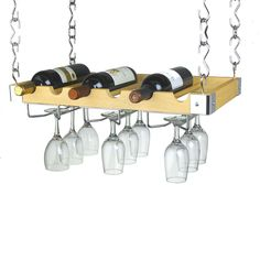 Ceiling or Wall Mount Wooden Wine Rack - WR-40528
