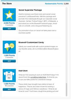 Screenshot of our internal Rewards Store. Bluewolf employees use their #GoingSocial points to purchase rewards such as the ones seen here.