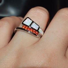 fire opal Cz ring gems silver jewelry 6.5 7.5 wedding engagement cocktail band G #Unbranded #Cocktail