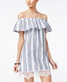 a2f6b87192 Trixxi Juniors  Off-The-Shoulder Shift Dress Junior Dresses
