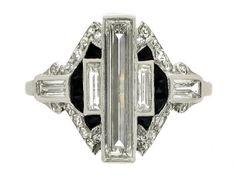 Art Deco diamond & onyx ring, ca 1925.