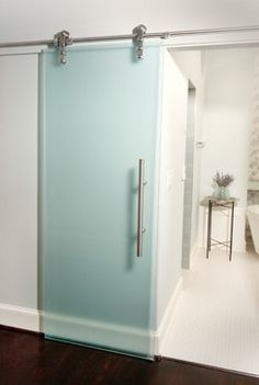 Frosted Glass Barn Door Bath Design Ideas, Pictures, Remodel and Decor