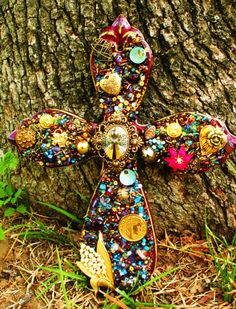 Beautiful Cross made out of pieces of worn vintage jewlery!!