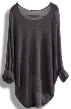 Grey Plain Irregular Round Neck Dolman Sleeve Loose Fashion Pullover Sweater - Pullovers - Sweaters - Tops